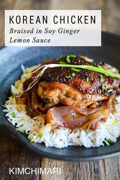 Easy Korean fusion recipe for chicken marinated in soy ginger sauce, seared golden brown, and braised in the oven with onions and lemon. Korean Chicken Braised in Soy Ginger Lemon Sauce Korean Dishes, Korean Food, Chinese Food, Korean Beef, Frango Chicken, Asian Recipes, Healthy Recipes, Healthy Food, Delicious Recipes