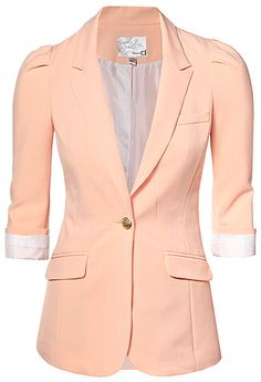 I think this hot peach blazer belongs in my closet. Stylish Outfits, Fall Outfits, Summer Outfits, Peach Blazer, Coral Blazer, Cute Blazers, Professional Wear, Boyfriend Blazer, Summer Jacket