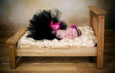 New born TuTu  Black with hot pink bow and accents.    Image credit: Made By Me Photography, LLC