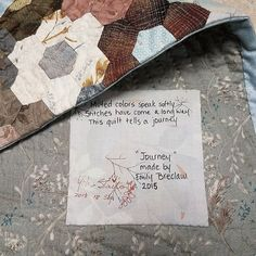 My little Journey quilt came home. It's been travelling with @third_floor_quilts, and even went to Japan! I'm thrilled beyond measure that Yoko Saito signed it. What a treasure! Thank you so much, Teresa and @yokosaito_quiltparty !  #emilysyokosaitoquilt