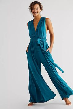 Dani Convertible One Piece | Free People Coral Blue, Convertible, Wide Leg, Free People, Jumpsuit, One Piece, Legs, Cute Outfits, Beach