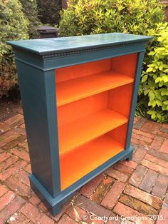 Upcycled Painted Mahogany Bookcase - Valspar 'Sherwood Forest' & 'Sandy Peppers' Paint with Websters Chalk Paint Powder. Waxed with Fiddes & Sons Supreme Wax Polish