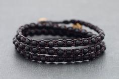 Black Onyx Triple Wrap Unisex Bracelet Anklet by XtraVirgin, $14.00