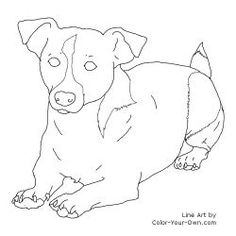 jack russel drawings | Jack Russell Terrier Laying Down Line Art