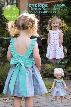 Sewing Pattern, Olive Ann Designs, Penelope Dress & Matching Doll Dress