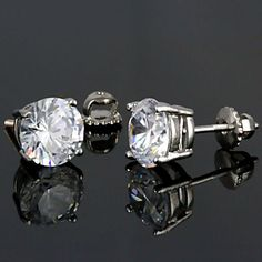 Candi: 10mm, 8.0ct Russian Ice on Fire Diamond CZ Screw Back Earrings - Trustmark Jewelers