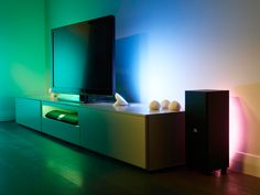 Create a beautiful relaxing ambiance in any room with this Hue starter pack from Philips. The pack includes 2 Bloom lights and a Hue bridge, which you can later add on more lights from the Philips … Cove Lighting, Lighting System, Strip Lighting, Lighting Ideas, Accent Lighting, Lighting Design, Unique Lighting, Interior Lighting, Hair Tool Storage