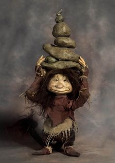 """Rock Troll by Wendy Froud, 16"""" tall, based on character from """"Trolls"""" the book by Wendy Froud"""