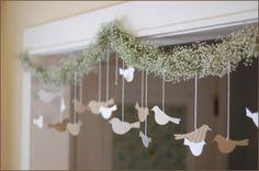 decoracao de cha de bebe neutra festao com passarinhos