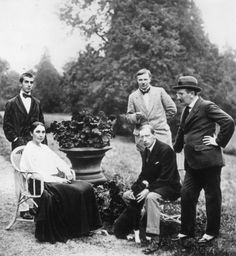 Natalia Goncharova and Igor Stravinsky (sitting ), Léonide Massine, Mikhail Larionov, Leon Bakst. Ouchy, Switzerland. 1915.