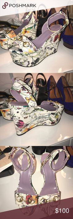 Gucci Floral Wedge Size 37 *PRE Owned Floral Wedge Gucci Shoes, off the market. Have been used significantly, but are in great condition. Gucci Shoes Wedges