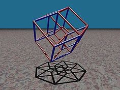 Orthographic projection (shadow) of the hypercube in and Fathom the Universe Mathematical Logic, Geometric Construction, Fourth Dimension, Cool Optical Illusions, Sacred Geometry Art, Geometry Tattoo, Fibonacci Spiral, Math Class, Maths
