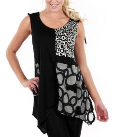 Love this Black & White Abstract Patchwork Sleeveless Tunic by Lily on #zulily! #zulilyfinds