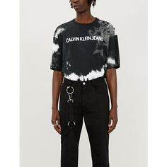 Ck Jeans Logo-print Tie-dye Cotton-jersey T-shirt In Black Yellow Ck Jeans, Calvin Klein Jeans, Black N Yellow, Tie Dye, Short Sleeves, Mens Tops, How To Wear, Cotton, T Shirt