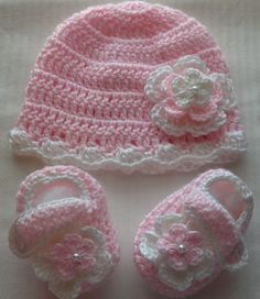 Crochet Baby Girl HandmadeHat Booties photo prop by Crochet Baby Hat Patterns, Baby Afghan Crochet, Baby Girl Crochet, Crochet Baby Clothes, Crochet Baby Shoes, Booties Crochet, Crochet Beanie, Crochet Hats, Baby Booties