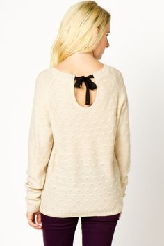 POINTELLE TIE BACK SWEATER