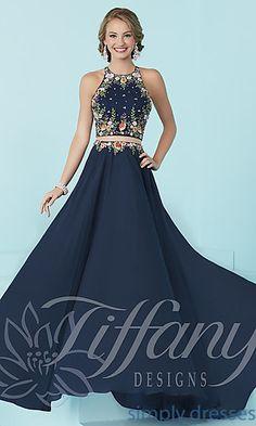 de1da41d88 High-Neck Tiffany Mock Two-Piece Prom Dress