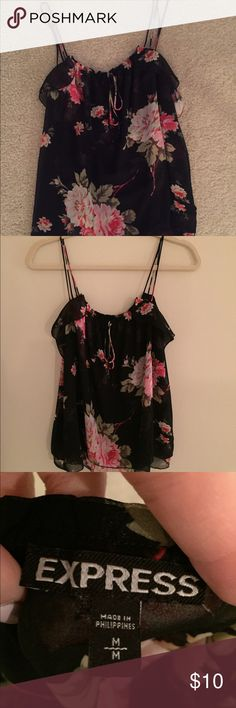Express Floral Tank Express floral print loose tank. Great to wear with shorts or under a suit jacket. Size medium. Gently worn. Express Tops Blouses
