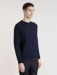 Balenciaga Mens Ribbed Knit Pullover