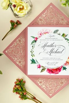 This beautiful laser floral invitation design is perfect for an elegant romantic wedding! The intricate laser cut design is sure to leave your guests breathless! Mexican Wedding Invitations, Floral Invitation, Elegant Wedding Invitations, Invitation Design, Wedding Stationery, Romantic Wedding Receptions, Romantic Weddings, Wedding Themes, Mexican Wedding Traditions