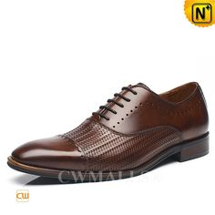 CWMALLS® Lace-up Leather Dress Loafers CW707020 - Shop lace-up leather dress loafers for men, featuring exquisite woven decorations in front and perforated designs, classic lace-up design, and this Italian dress shoes are available in black and brown, you will stay comfortable and noble in them.
