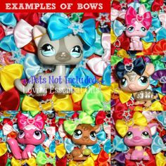 Littlest-Pet-Shop-CUSTOM-BOW-GRAB-BAG-LOT-Surprise-Random-Bows-Accessories-HUGE