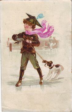 CHROMO WED J DE JONGE BOY WITH DOG ON ICE | par patrick.marks