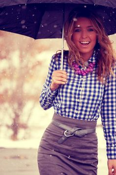 Gingham shirt, brown skirt. Like how the belt is done!