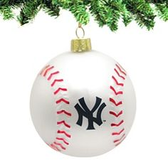 New York Yankees  Glass Baseball Ornament     Start a Christmas tradition with our NY Yankees baseball ornament. This beautiful molded glass ball is of the finest quality! The stitching is raised.   Our ornament is officially licensed by Major League Baseball and the New York Yankees.   http://www.nycwebstore.com/detail.aspx?Product_ID=KA-MB4101YNK
