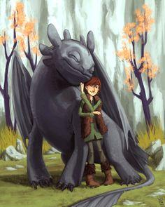 Nos encanta esta ilustración de Flo Minowa. 'Dragones: Los Jinetes de Mema'. Fuente: http://flominowa.deviantart.com/art/Happy-to-see-you-too-buddy-187380492
