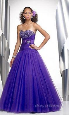 A-Line Organza Sweetheart Long Dress Charm86490
