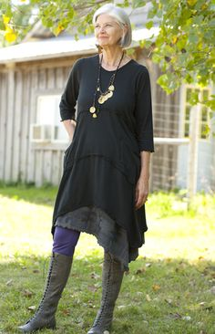 Vector Tunic - like the layers and jewellery.  This is a great look for a woman of this age.
