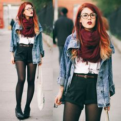 Lua P - Clocks are ticking backwards. Fall winter Hipster fashion with shorts