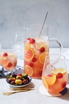 Traditionally made with red or white wine, this Spanish staple is updated with rosé wine, fresh grapefruit juice and fresh raspberries. To mix things up, you can try any of your favorite fruits in this summery rose sangria recipe. Sliced stone fruits and fresh blackberries work particularly well.