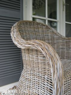 Modern Country Style: Using Grey Rattan Kubu Chairs In Modern Country Style Gardens Click through for details. House Paint Exterior, Exterior Paint Colors, Exterior House Colors, Paint Colors For Home, Paint Colours, Grey Exterior, Painted Wicker, Painted Furniture, Painting Wicker Furniture