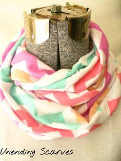 pastels chevron jersey knit infinity scarf pink by UnendingScarves, $14.99