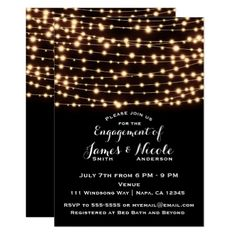 String Lights Rustic Engagement Party Card. Order yours at Boardman Printing
