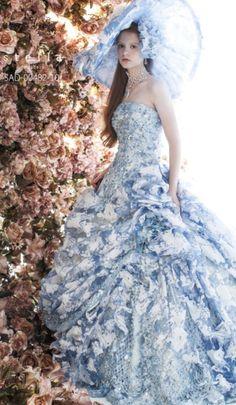 Stella de Libero Blue Wedding Dresses, Princess Wedding Dresses, Wedding Dress Styles, Gown Wedding, Stunning Dresses, Beautiful Gowns, Nice Dresses, Mode Costume, High Fashion Dresses