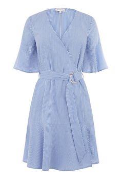 Warehouse, STRIPE FRILL HEM DRESS Blue Stripe 0