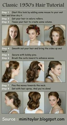 Classic 1950s Hair Tutorial - love this for longer hair!