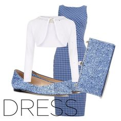 """""""2 Tone Dress: Blue white"""" by anggunan ❤ liked on Polyvore featuring Altuzarra, Jimmy Choo and Monsoon"""