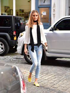 Olivia Wearing a Black Skinny Scarf in NYC