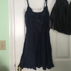 Dress Very cute navy blue Abercrombie sundress with a little bit of Ruffles on the neck line Abercrombie & Fitch Dresses Mini