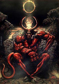 ArtStation - Hellboy King of Hell, ANDREA MANGIRI Hellboy Wallpaper, Hellboy Tattoo, Kon Bleach, Ghost Rider Marvel, Satanic Art, Evil Art, Demon Art, Scary Art, Marvel Comics Art