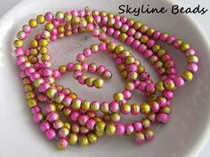 Drawbench Glass Beads Pink and Goldenrod Round 4mm by SkylineBeads, $2.25