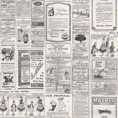 Galerie Memories 2 G56142 Cream Grey Old Adverts Newspaper Feature Wallpaper