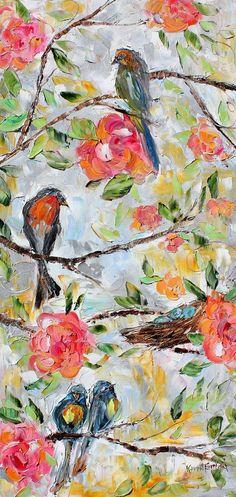 ORIGINAL Birds Flowers Nest modern Oil PAINTING on canvas impressionism decorative  palette knife fine art by Karen Tarlton. $225.00, via Etsy.