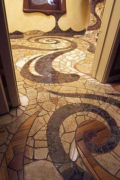 I love the wood mixed with the tile! - I love the wood mixed with the tile! Pebble Mosaic, Stone Mosaic, Mosaic Art, Mosaic Tiles, Mosaic Floors, Tiling, Bathroom Tile Designs, Mosaic Designs, Mosaic Patterns