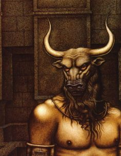 In Greek mythology, Minotaur was a creature with the head of a bull on the body of a man. He was the son of the Queen of Crete, Pasiphae and a bull. The story goes: Minos, the King of Crete, prayed to Poseidon to send him a snow-white bull, as a sign of support to his rule. He was to kill the bull to show honor to Poseidon, but decided to keep it instead. To punish Minos, Aphrodite made Pasiphae fall deeply in love with the bull. Their offspring was Minotaur who devoured men for sustenance.