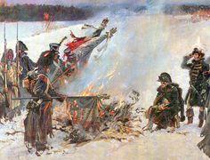 """Burning of regimental flags before Napoleon"", Wojciech Kossak."